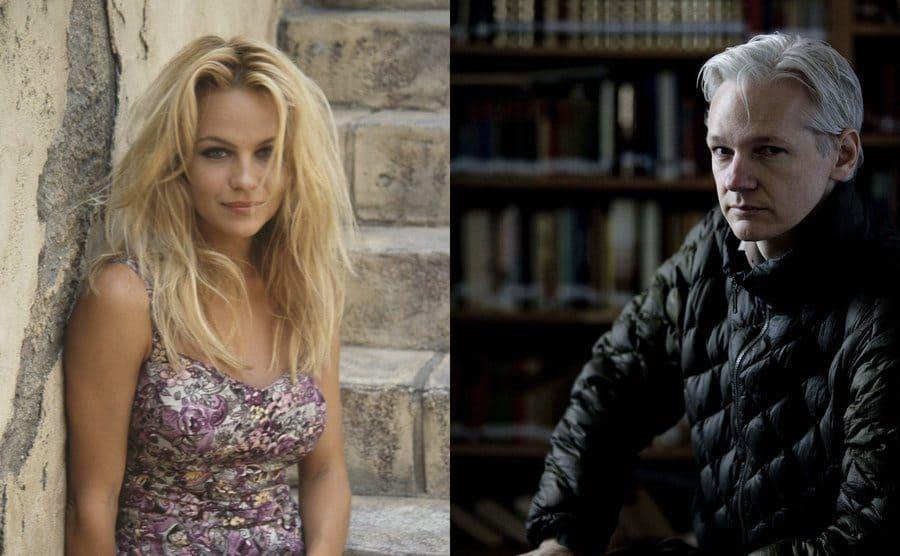 Pamela Anderson posing on steps outside of a building / Julian Assange posing in a study
