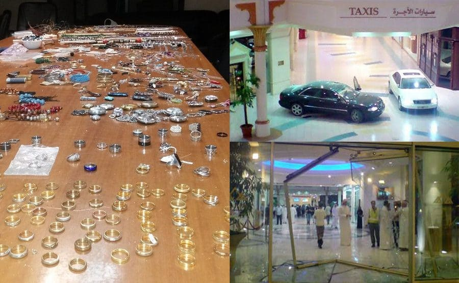 A table full of jewellry / Two cars inside of the mall / The broken doors from the inside of the Dubai mall after the thieves drove through the doors