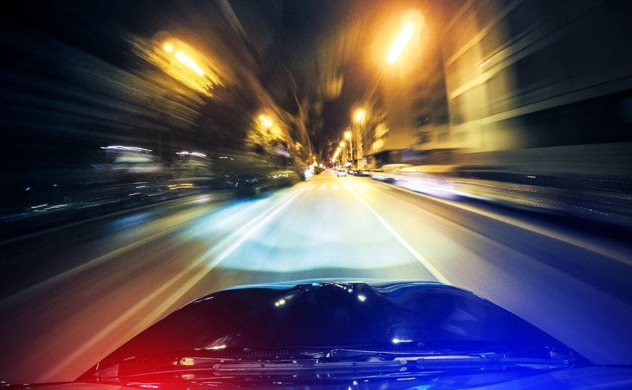 A stock image of a high speed car chase