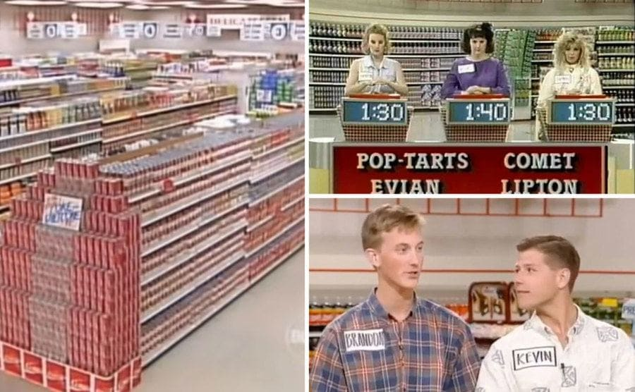 The Supermarket Sweep set from the '90s / Supermarket Sweep contestants answering trivia questions with a buzzer / Kevin and Brandon in their cool, colorful shirts on set