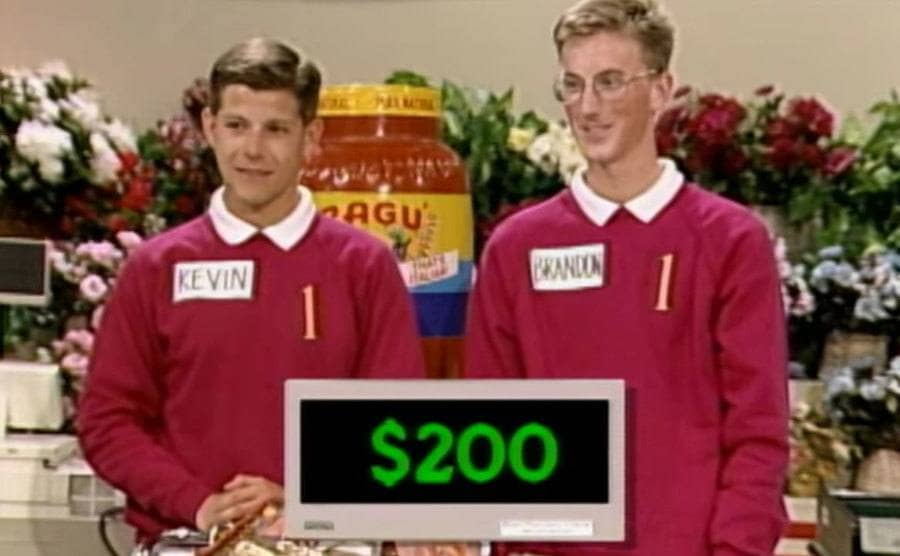 Contestants Brandon and Kevin on Supermarket Sweep.