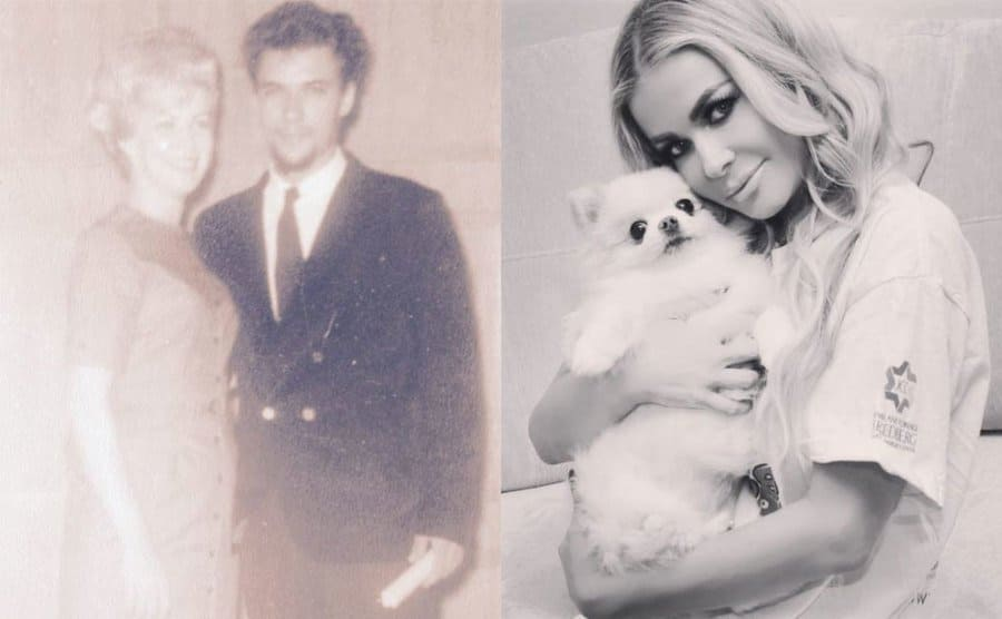Carmen's mother and father posing in an old photograph / Carmen Electra holding her Pomeranian in a black and white photograph