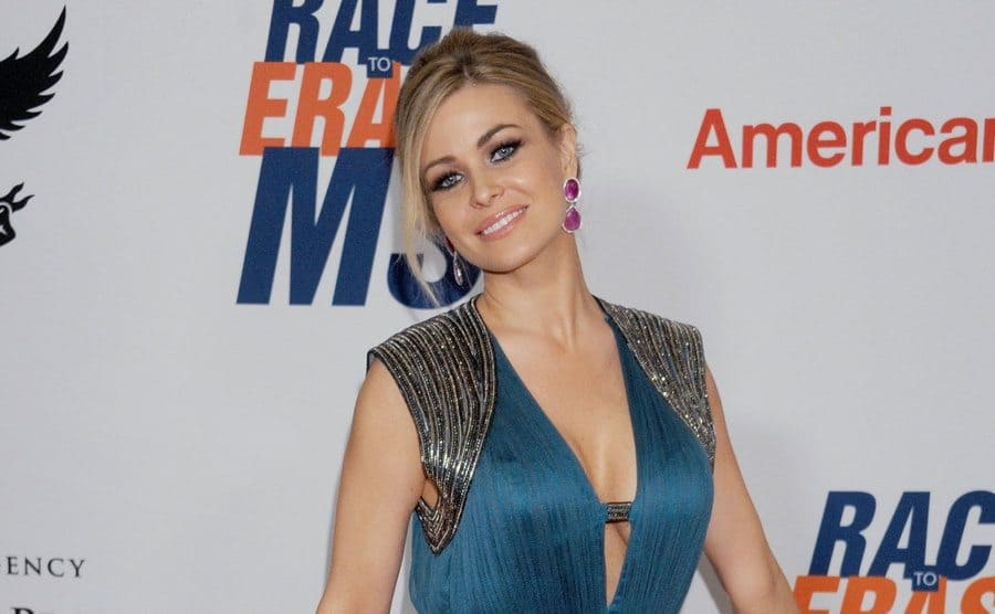 Carmen Electra in a blue dress on the red carpet
