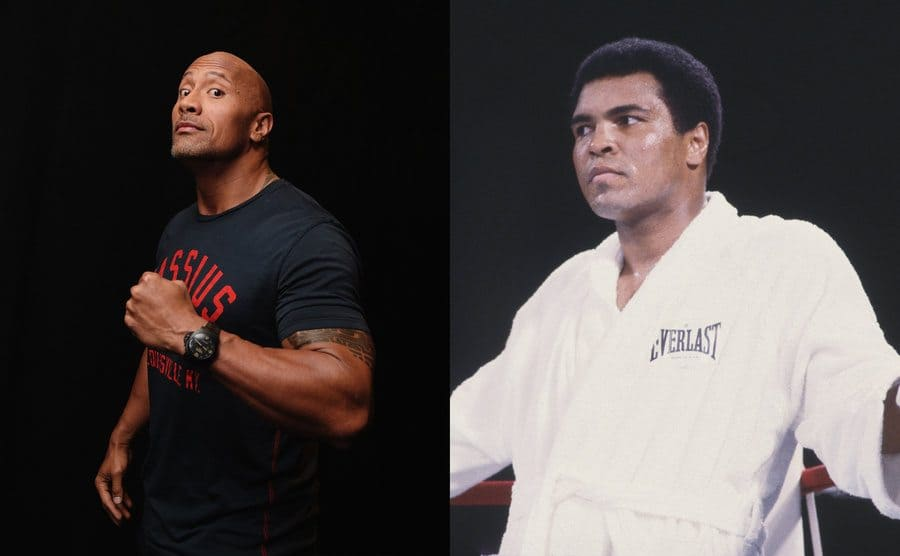 Dwayne Johnson posing for a portrait / Muhammad Ali in the corner of the ring