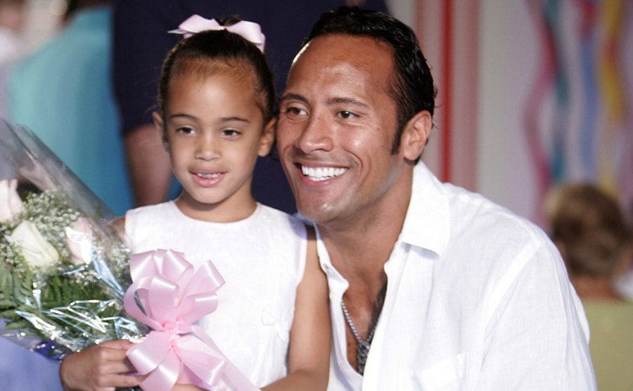 Dwayne Johnson with his daughter Simone Alexander Johnson at his Daddy and Me charity event