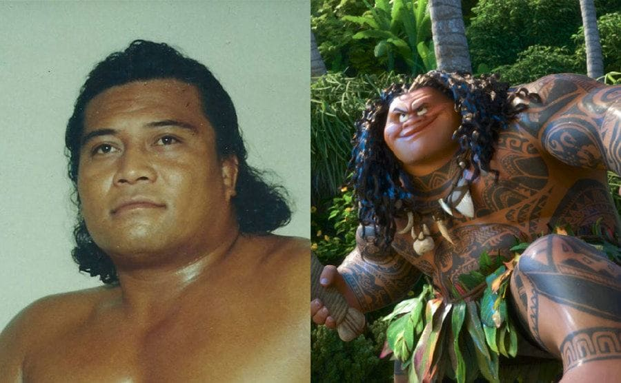 Peter Mavia posing for a portrait / The character from Moana