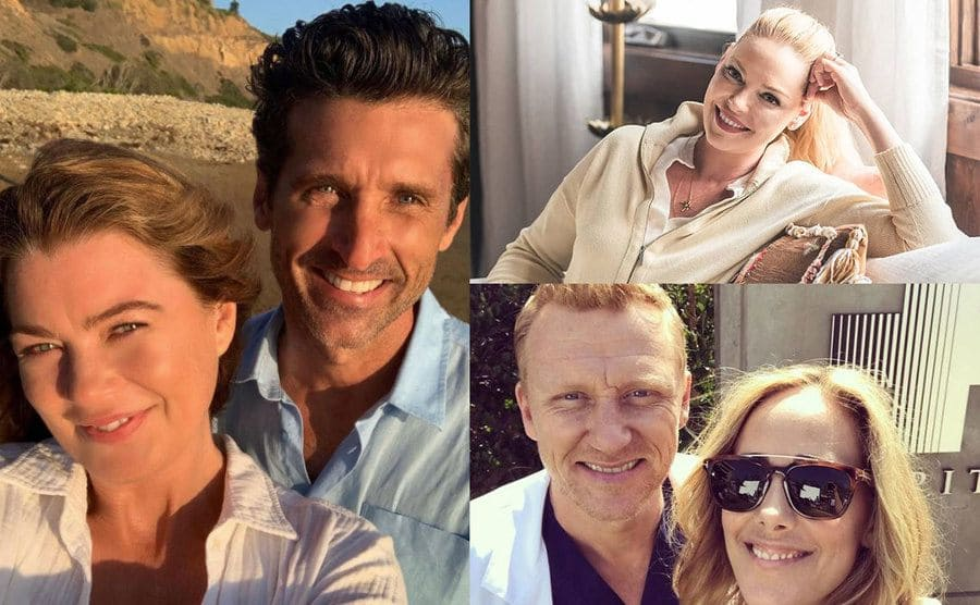Ellen Pompeo and Patrick Dempsey taking a selfie on the beach / Katherine Heigl posing leaning on the back of her couch / Kevin McKidd and Kim Raver takinga selfie together on the set of Grey's Anatomy
