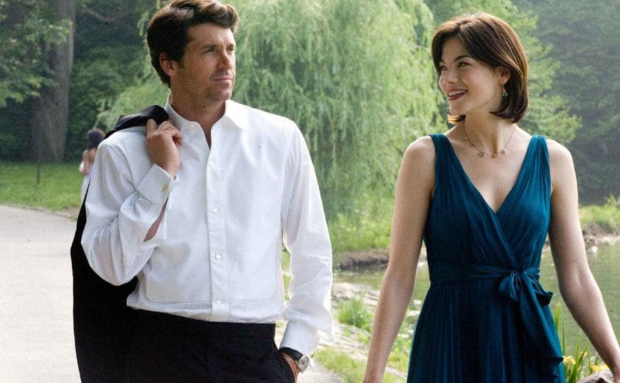 Patrick Dempsey and Michelle Monoghan dressed up to attend a wedding while walking along a creek