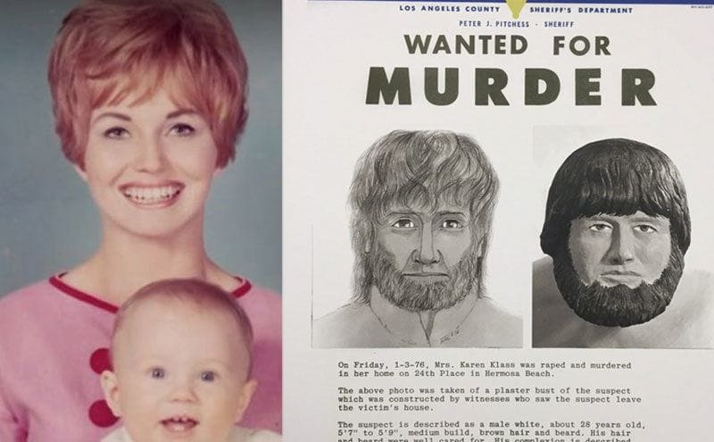 Karen smiling for a photo while holding her son in her arms/ A wanted poster along with a sketch of the man seen leaving the home of Klaas.