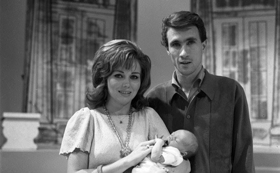 Bill Medley poses for a portrait with his wife Karen Klaas and their newborn son Darrin Medley circa 1966.