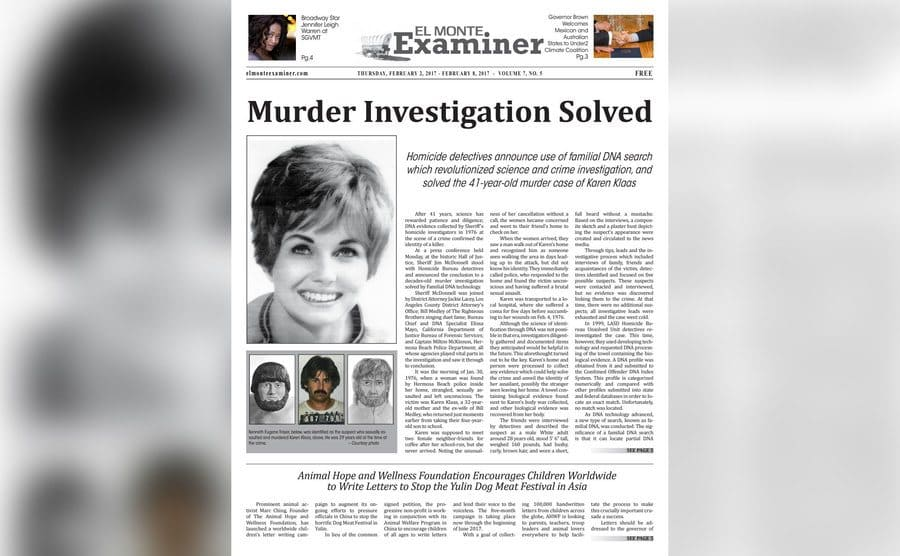 A newspaper clipping of the announcement of the solved murder case of Karen Klaas.