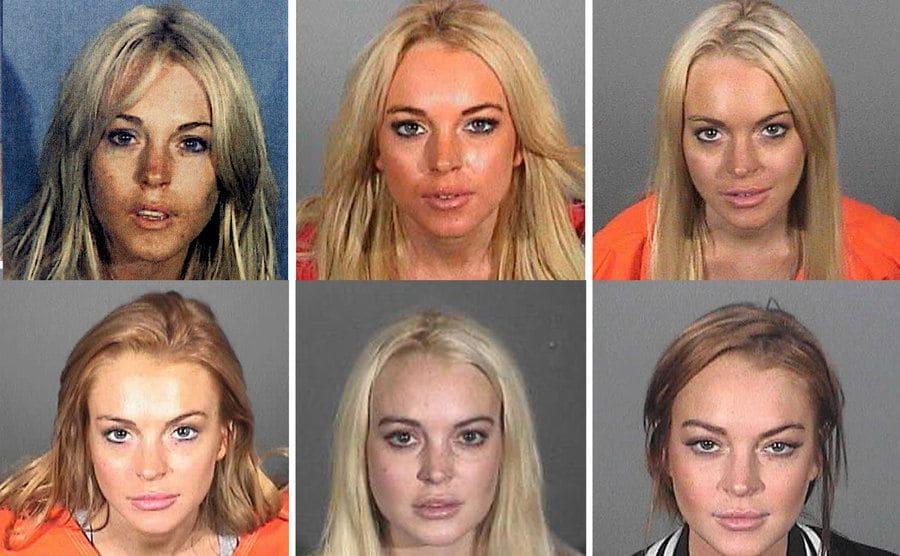 Six of Lindsay Lohan's mug shots from her multiple arrests