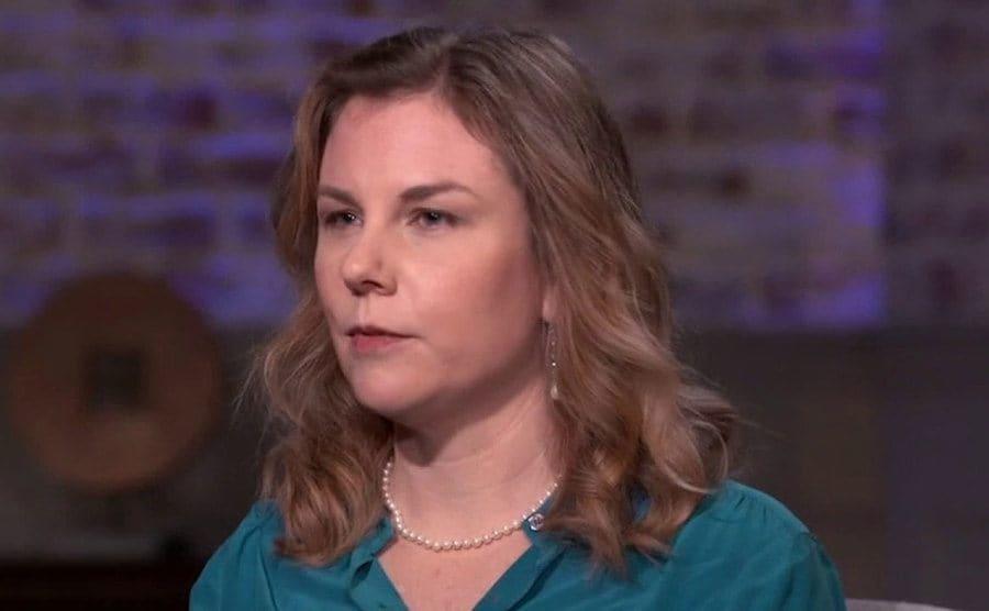 Christie Smythe doing a tv interview.