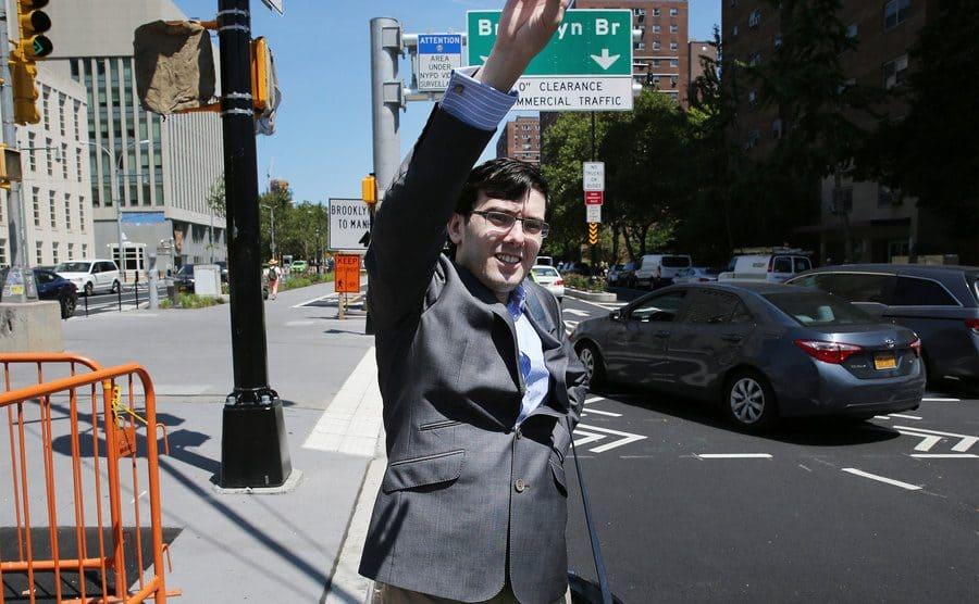 Martin Shkreli hailing a cab.