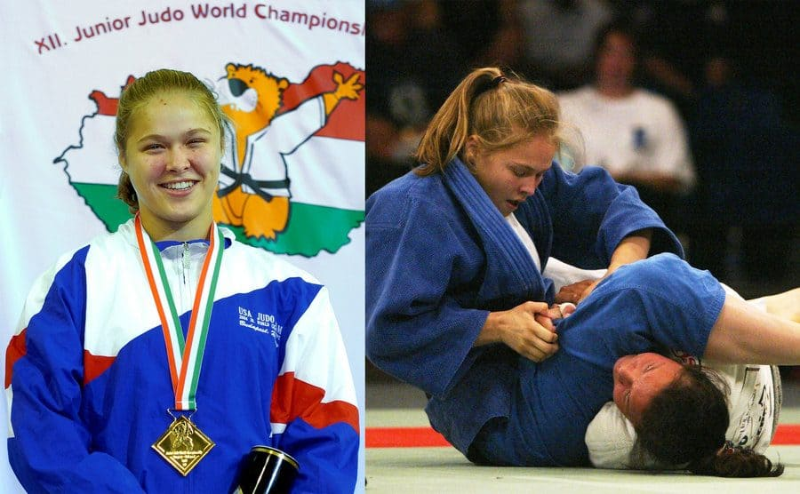 Ronda posing with her medal at the 2004 Junior Judo world championships / Ronda tapping someone out winning a match