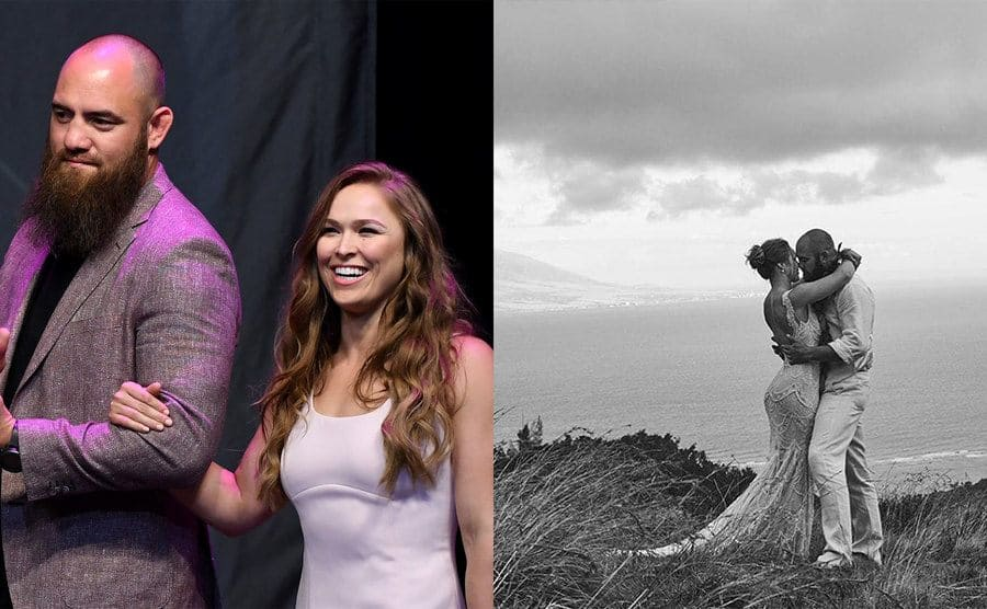Travis Browne and Ronda Rousey walking on stage together / Travis and Ronda posing on their wedding day