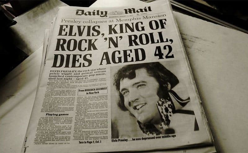 A copy of the Daily Mail with the announcement of Elvis Presley's death.