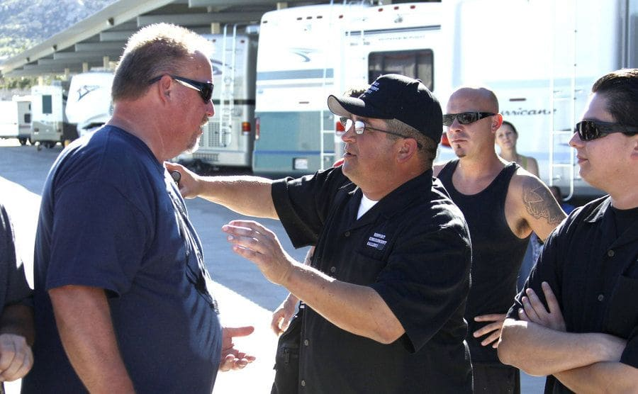 Darrell Sheets and Dave Hester argue after the final auction at Freedom Storage.