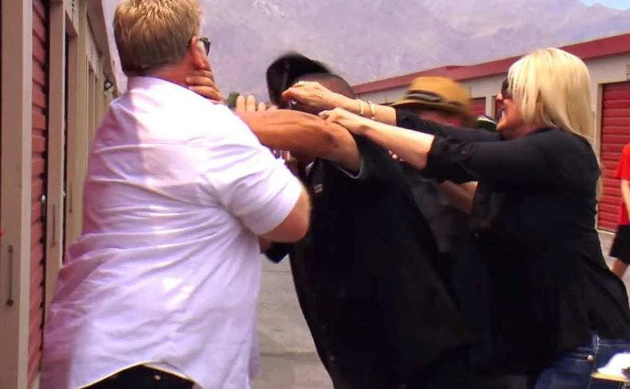 Dan Dotson, Hester, Lauren, and other cast members get into a physical fight.