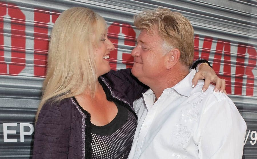 Laura Dotson and Dan Dotson stare lovingly into each other's eyes at A&E's 'Storage Wars' Lockbuster Tour.