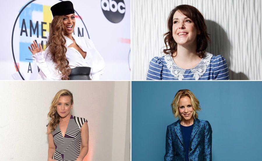 Tyra Banks on the red carpet in 2018 / Melani Lynskey on the red carpet smiling / Piper Perabo arriving at an event in 2014 / Maria Bello on the red carpet dressed in all blue in front of a blue background