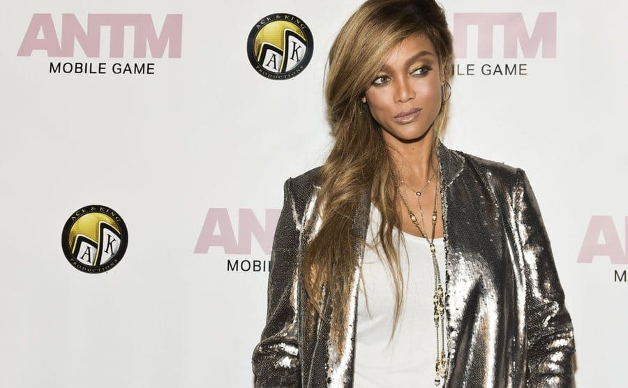 Tyra Banks on the red carpet at an America's Next Top Model event