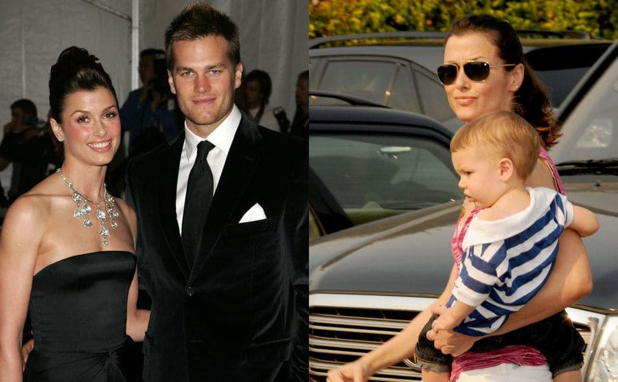 Bridget Moynahan and Tom Brady on the red carpet together / Bridget Moynahan with her son walking in a parking lot