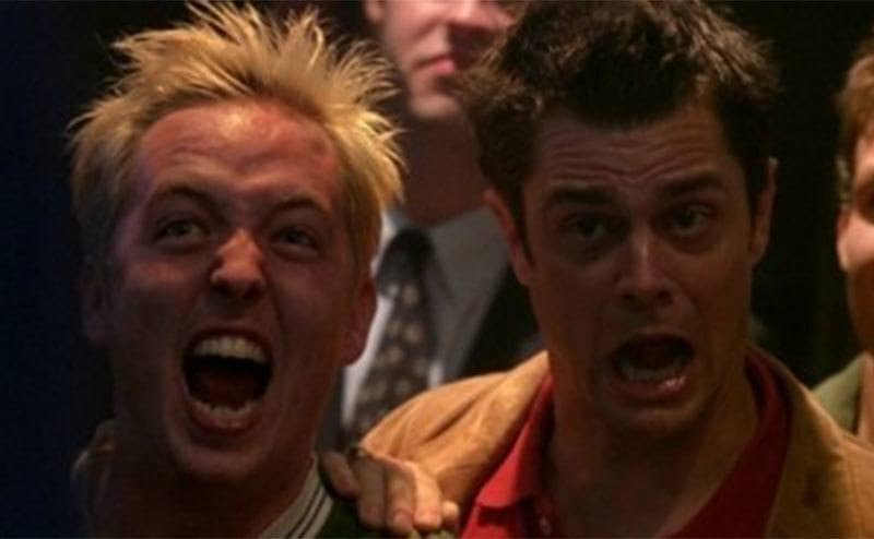 Johnny Knoxville screaming in the crowd