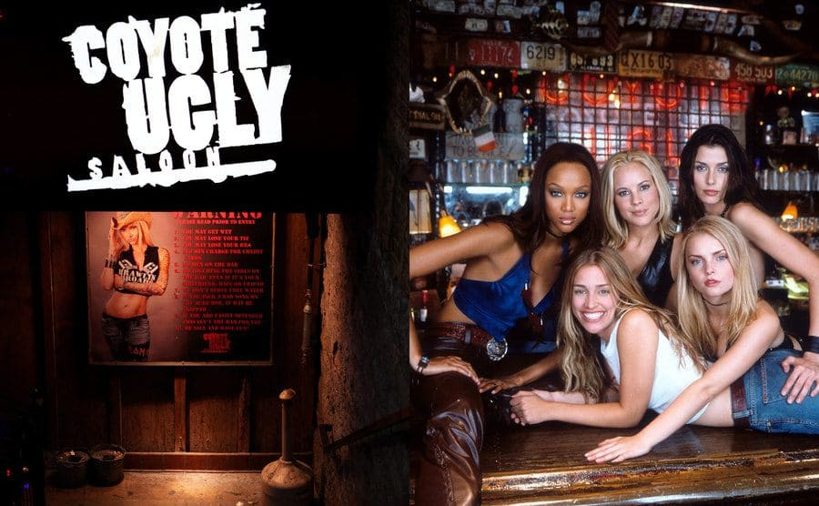 The outside of the Coyote Ugly bar / The cast of the movie Coyote Ugly