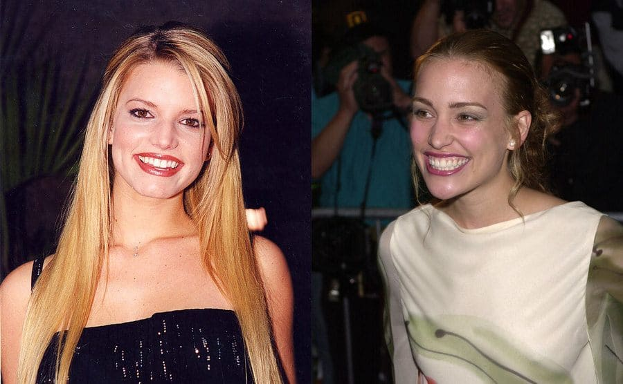 Jessica Simpson on the red carpet in 1999 / Piper Perabo on the red carpet at a Coyote Ugly event