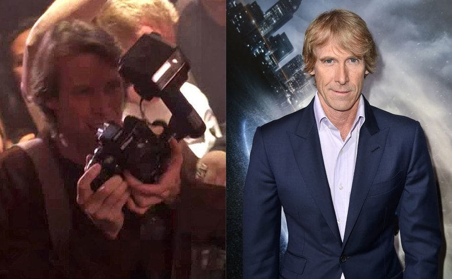 Michael Bay with a camera in coyote ugly / Michael Bay on the red carpet
