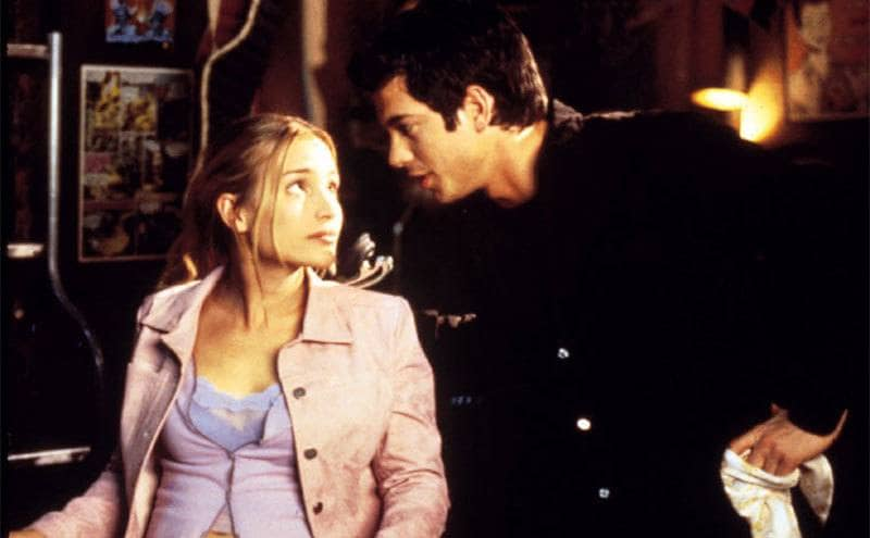 Piper Perabo and Adam Garcia sitting on the set of Coyote Ugly