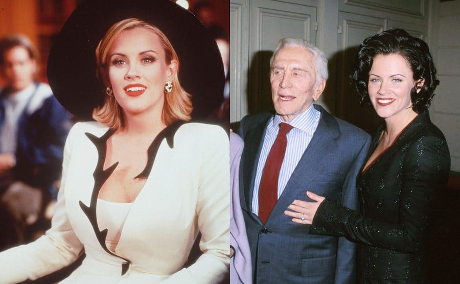 Jenny McCarthy in a white suit and black hat in the show BASEketball / Jenny McCarthy and Kirk Douglas on the red carpet