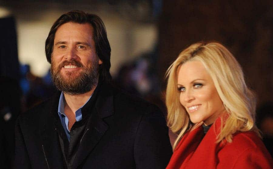 Jim Carrey with a beard and Jenny McCarthy blurred a bit on the red carpet