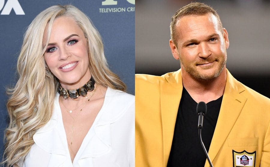 Jenny McCarthy wearing all white on the red carpet with a fashion statement necklace / Brian Urlacher behind a podium in a mustard yellow blazer