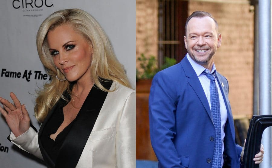 Jenny McCarthy waving on the red carpet / Donnie Wahlberg getting into a car