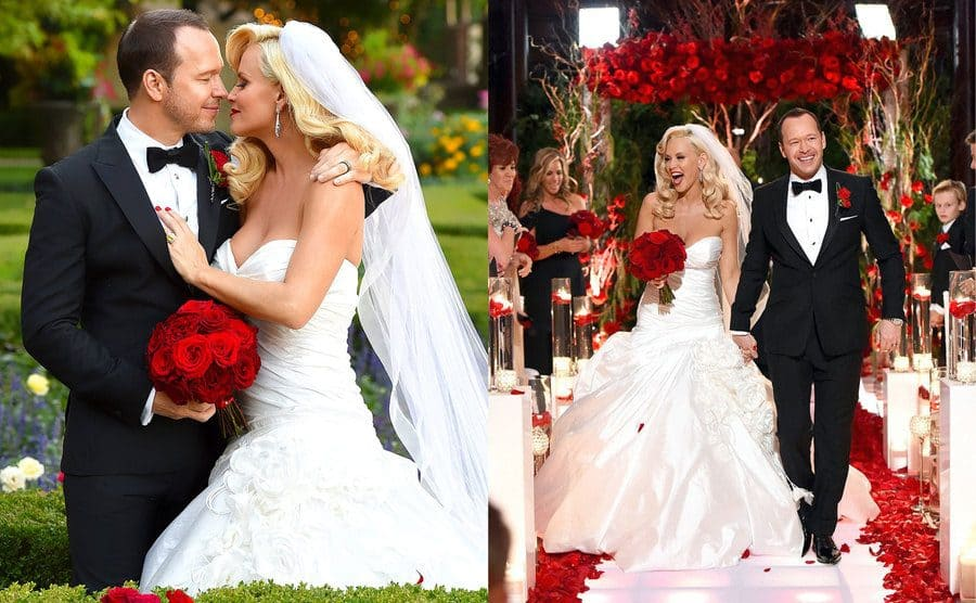 Jenny and Donnie posing about to kiss in a wedding photograph / Jenny and Donnie walking down the aisle smiling on their wedding day