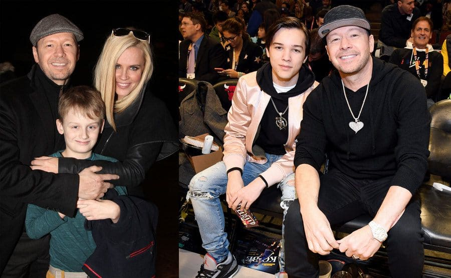 Donnie Wahlberg and Jenny McCarthy posing with her son Evan / Elijah and Donnie Wahlberg sitting in the front row of a basketball game