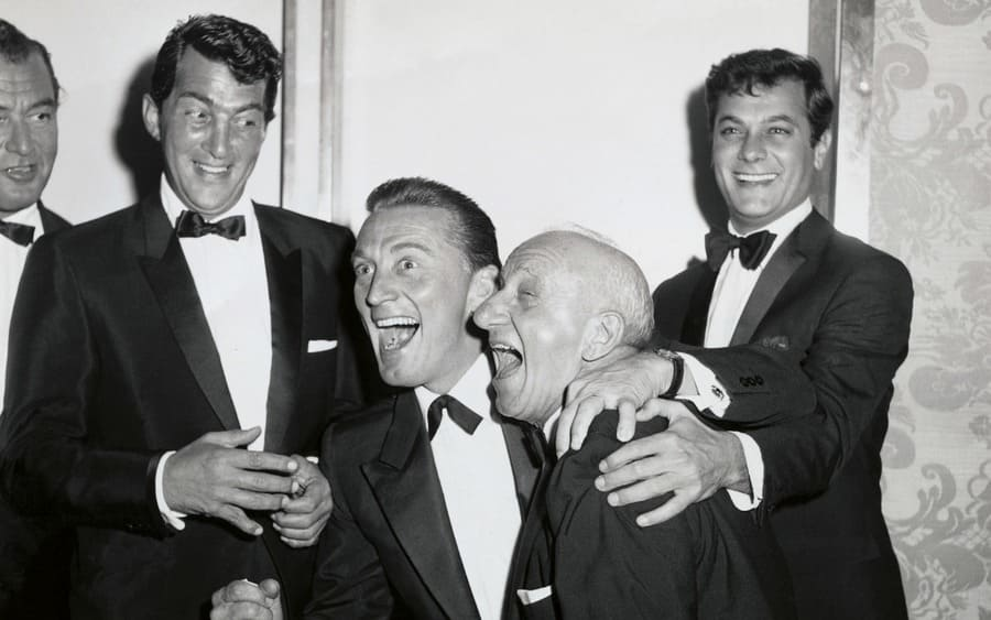 left to right Dean Martin, Kirk Douglas, Jimmy Durante, and Tony Curtis