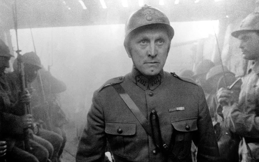 Actor Kirk Douglas on the set of Paths of Glory