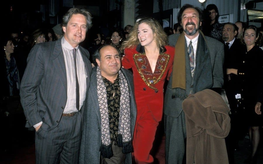 Michael Douglas, Danny DeVito, Kathleen Turner, and James Brooks.
