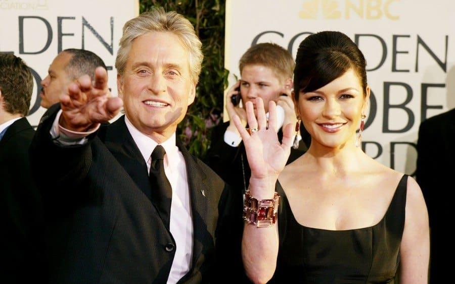 Actor Michael Douglas and actress Catherine Zeta-Jones attend the 61st Annual Golden Globe Awards