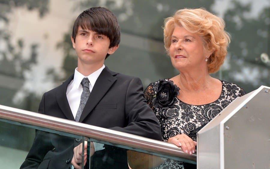 Dylan Douglas with his grandmother and Catherine Zeta-Jones mother, Patricia Fair