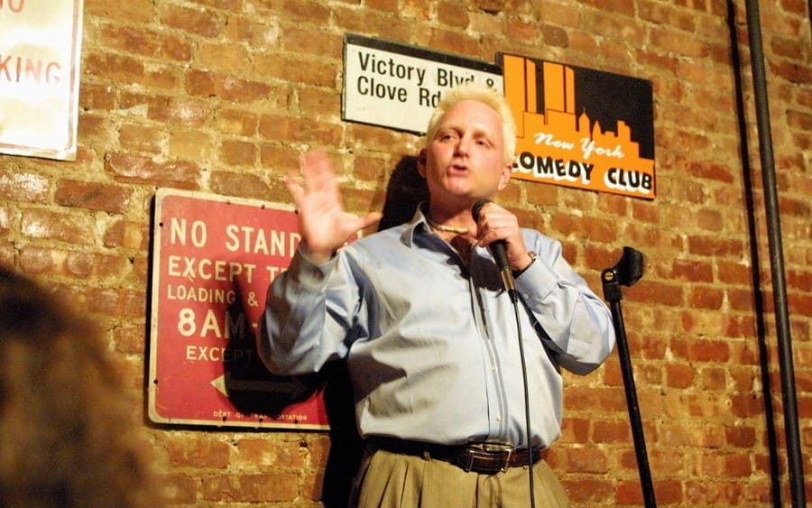 Eric Douglas, the brother of actor Michael Douglas, performs at the New York Comedy Club