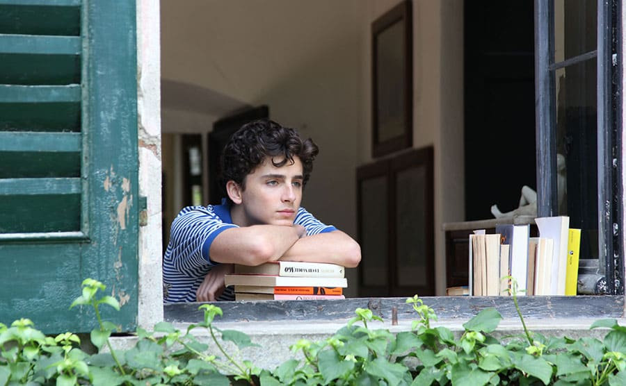 Timothée Chalamet leaning on a stack of books next to an open window looking out into the distance