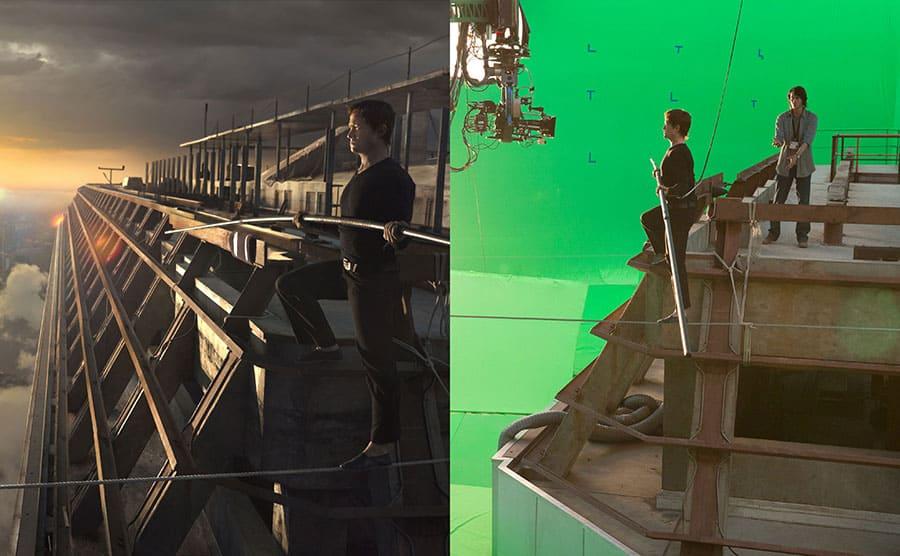 Joseph Gordon-Levitt tightrope walking / Joseph Gordon-Levitt tightrope walking with the green screen surrounding him