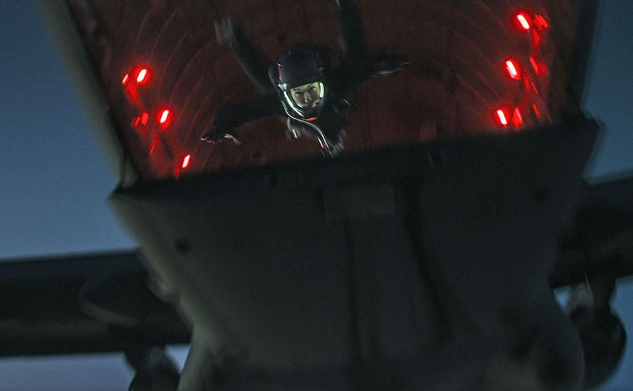 Tom Cruise jumping out of a plane