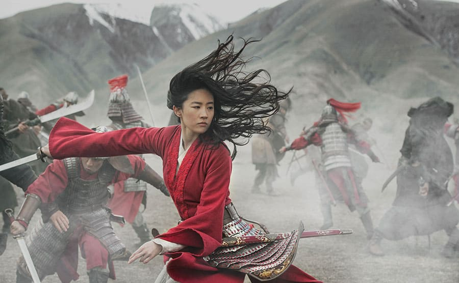 Liu Yifei practicing martial arts in a scene from Mulan