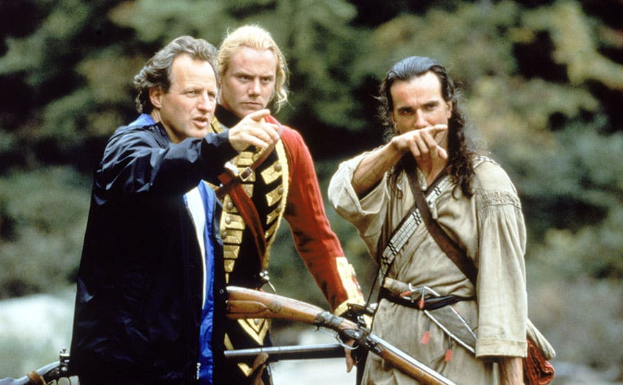 Daniel Day-Lewis with director Michael Mann and Steven Waddington getting a scene right in 'The Last of the Mohicans'