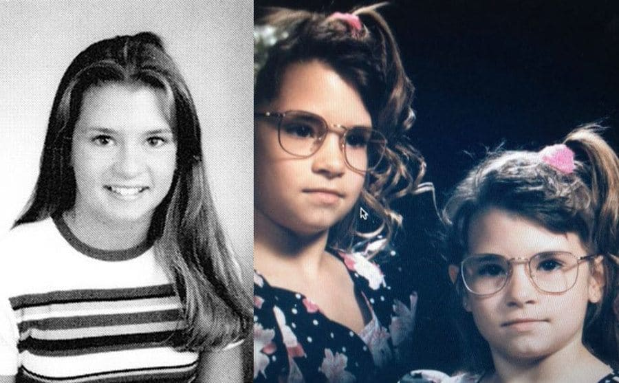 Danica Patrick in a yearbook photograph / Danica and her sister when they were younger with side ponytails